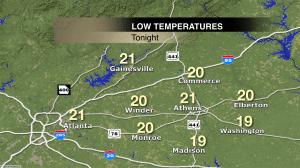 NE GA low temperatures for 11/18/14