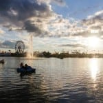 Paddleboat riders watch as the sun begins to set over the Georgia National Fair in Perry, Georgia, on Saturday, October 10, 2015. (Photo/Savanna Sturkie, ssturkie@uga.edu)