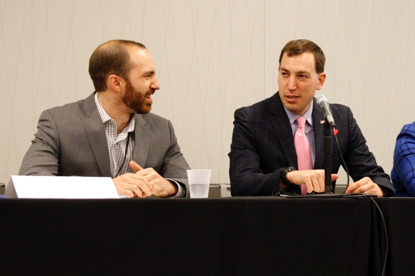 Dr. Nathan Moore of Barnes-Jewish Hospital in St. Louis, Missouri and Dr. Jesse Ehrenfeld of Vanderbilt University in Nashville, Tennessee chat before chairing a panel on medical-school education reform at the Association of Health Care Journalists' national conference in Cleveland, Ohio on April 9, 2016. Photo/Sandra L. McGill