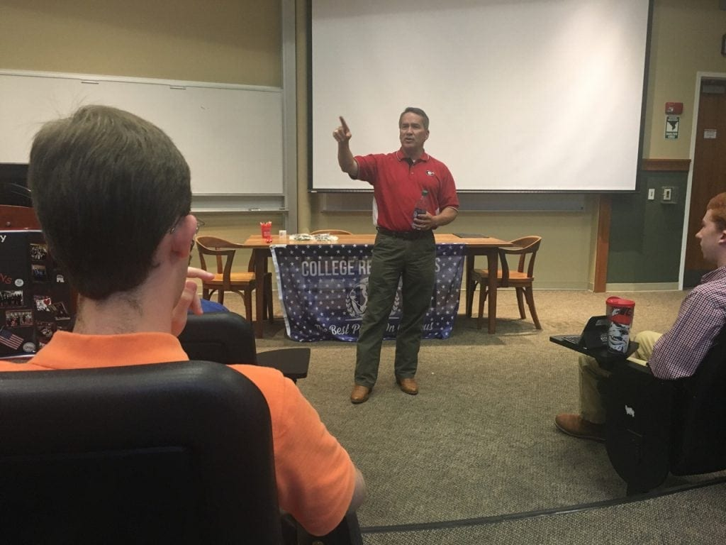 Cromwell. Representative Jody Hice speaks to UGA College Republicans on August 31.