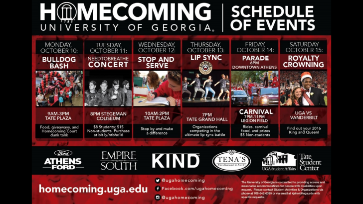 UGA Homecoming Week 2016 Events