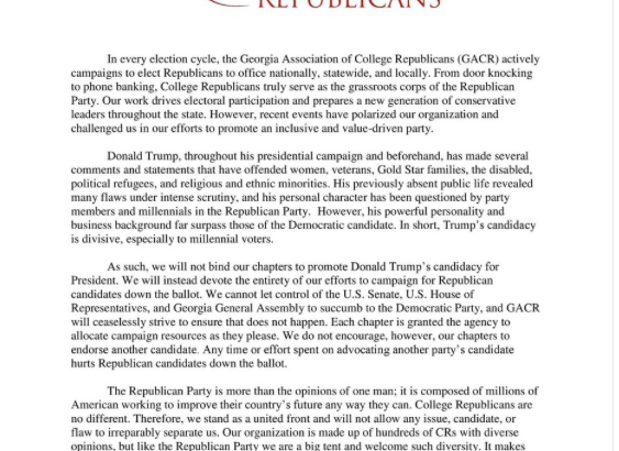 College Republicans Release Statement on Trump Endorsement