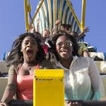 Jade Dockery, 18, and Destiny Early, 19, both of Atlanta, Georgia, scream while riding Pharaoh's Fury at the Georgia National Fair in Perry, Georgia, on Saturday, Oct. 8, 2016. (Photo/Casey Sykes, www.caseysykes.com)