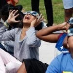 Cleveland Road Elementary School kids enjoy an eclipse viewing session outside Cleveland Road Elementary School in Athens, Georgia, on Monday, August 21, 2017. (Photo/Kayla Renie)