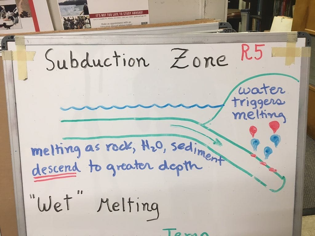 Professor Rob Hawman's diagram details what a subduction zone is and how these zones trigger seismic activity.