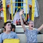 Greg Rau, 12, and Natalie Rau, 11, ride the Pharaoh's Fury at the Georgia National Fair in Perry, Georgia on Saturday, October 7, 2017. Greg Rau got in to the ride about halfway through when he started screaming. (Photo/Emily Haney)