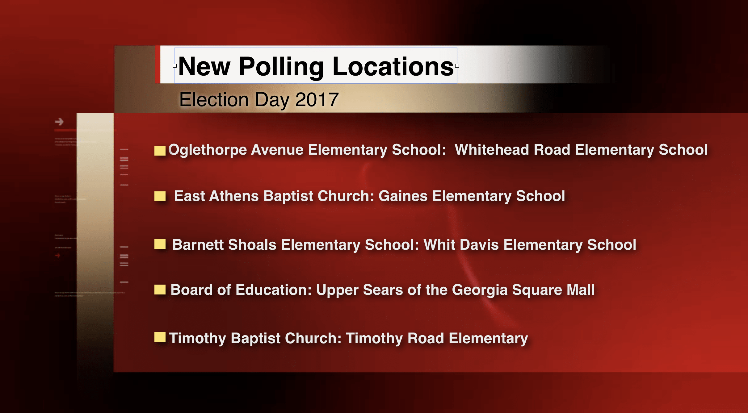 New Polling Locations