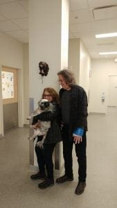 Rhonda Nally, her husband, and Cooper, her dog who was diagnosed with B-cell lymphoma in February. Photo Credit: University of Georgia Veterinary Teaching Hospital