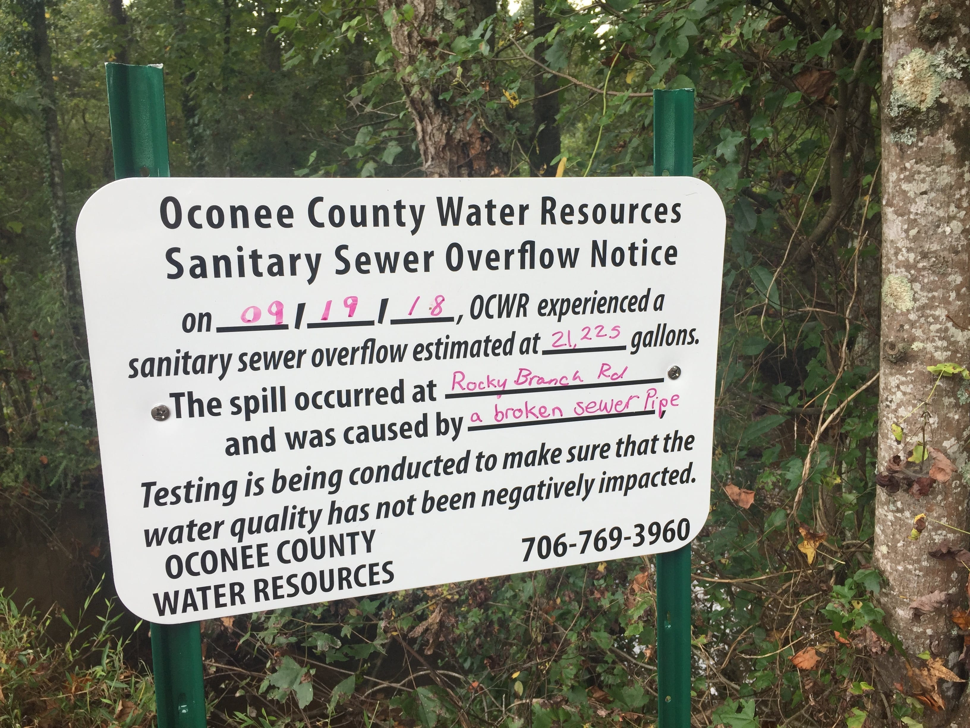 Oconee County Repairs Fourth Sewer Spill This Year