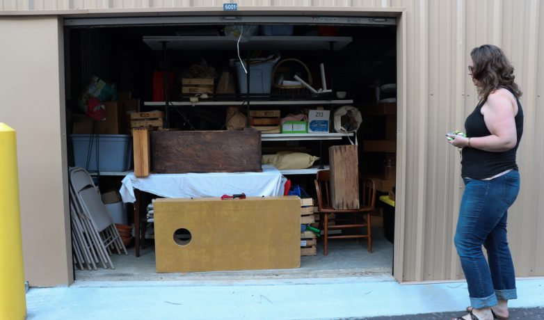 One of the two storage units holds most of the furniture and shelves from the store on April 23, 2019, in Athens, Georgia. The wooden shelf that once sat in the front room is now stored in smaller pieces. (Photo/Mary Martin Harper)