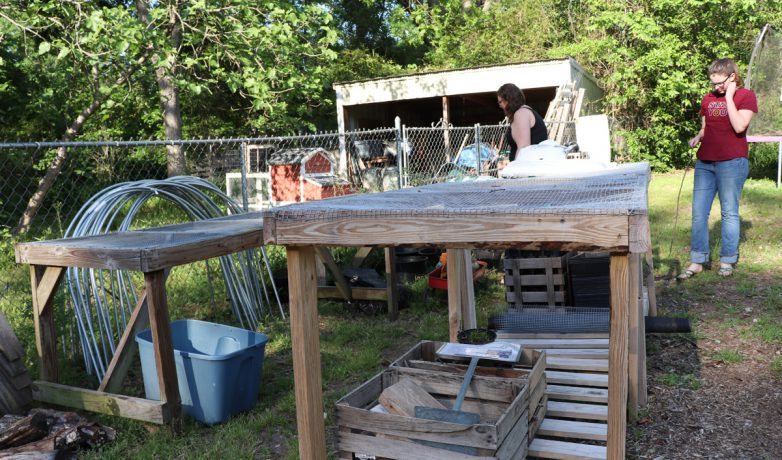Some of the tables from Lotta Mae's sit in Van Cantfort's backyard on April 23, 2019, in Athens, Georgia. The plants that are not stored on her front porch stay outside with these tables. (Photo/Mary Martin Harper)