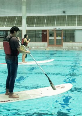 Students learn to paddle board as part of last year's Ramsey Palooza event at the University of Georgia Ramsey Student Center in Athens, Georgia on November 8, 2018. Ramsey Palooza is an annual, substance-free event organized by the UGA Recreational Sports Department and offers a variety of activities for students to participate in. (Photo Courtesy/UGA Recreational Sports)