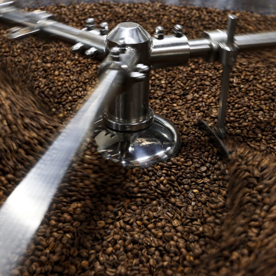 Freshly roasted coffee beans are rotated around as they cool in 1000 Faces' roasting room in downtown Athens, Georgia on Friday, Feb. 7, 2020. (Photo/Taylor Gerlach)