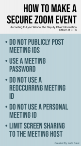According to EITS, to prevent Zoom-bombing and other security risks, take simple steps to protect your Zoom meeting including: not publicly posting meeting IDs, using a meeting password, not using a reoccurring meeting ID, not using a Personal Meeting ID, and limiting screen sharing to the meeting host.