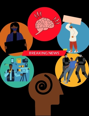 Graphic of Black Journalists dealing with reporting on Black trauma and dealing with their mental health